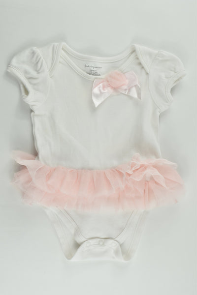First Impressions Size 00 (3-6 months) White Tulle Bodysuit