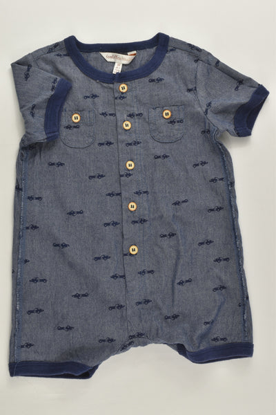 Fox & Finch Size 00 (6 months) Short Cars Lightweight Denim Playsuit