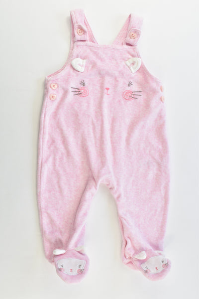 George Size 00 (3-6 months) Footed Kitty Velour Overalls
