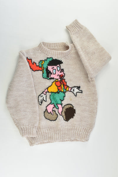 Handmade Size approx 3 Pinocchio Knitted Jumper