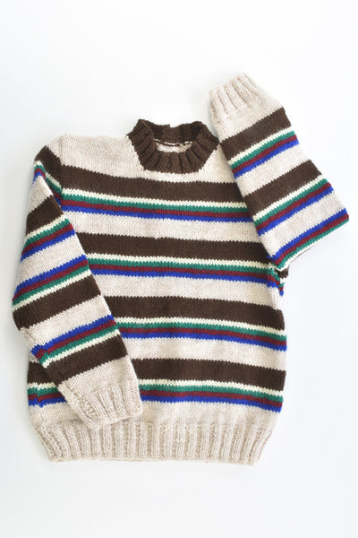 Handmade Size approx 4-5 Knitted Striped Wool Jumper
