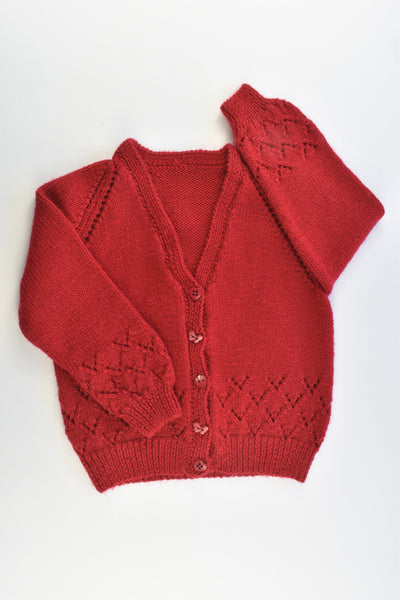 Handmade Size approx 5-6 Knitted Wool Cardigan