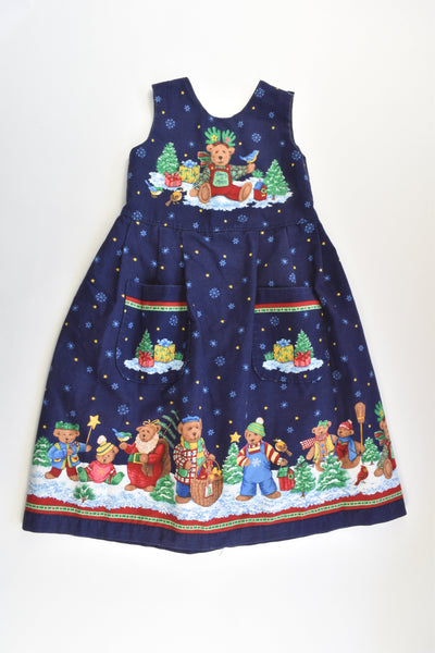 Handmade Size approx 5 'Bearly A Moose' Lined Christmas Dress