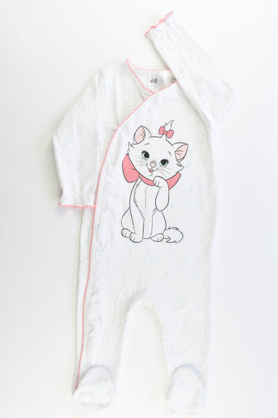 H&M Size 0 ( 74 cm, 6-9 months) Marie Aristocats White Footed Romper