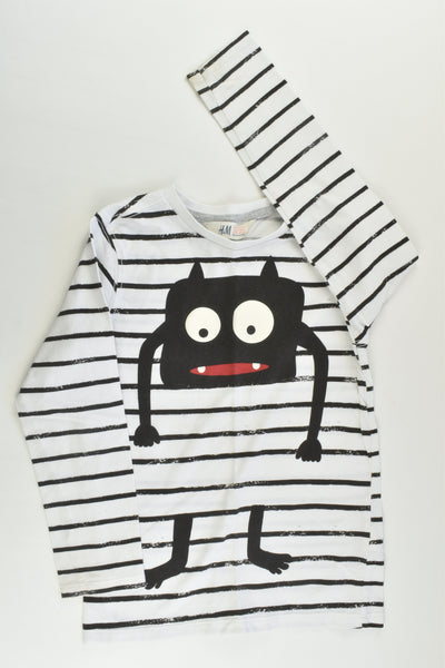 H&M Size 5-6 (110/116 cm) Striped Monster Top