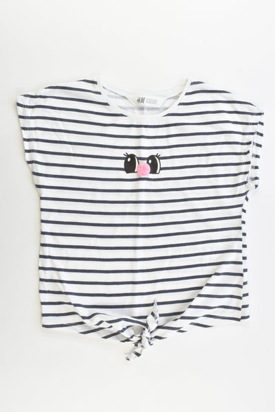 H&M Size 5-6 (110/116 cm) Striped Pom Pom Nose T-shirt