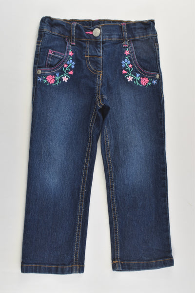 H&T Size 2 Stretchy Denim Pants with Floral Embroidery
