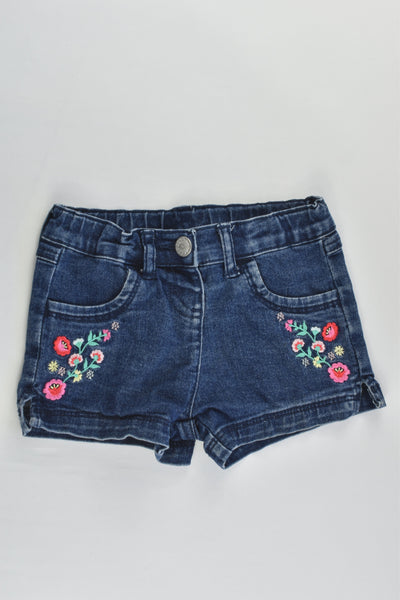 H&T Size 2 Stretchy Denim Shorts with Floral Embroidery