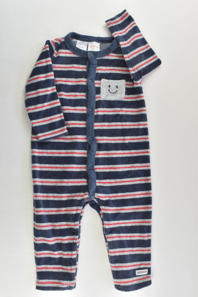 Jack & Milly Size 0 Striped Smiley Face Pocket Velour Romper
