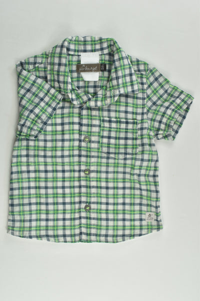 Jean Bourget Size 0 (12 months, 74 cm) 'On The Rock' Zebras/Checked Shirt