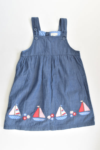 JoJo Maman Bébé (UK) Size 2-3 Nautical Lined Lightweight Denim Dress
