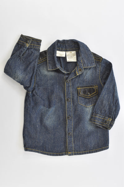 Kardashian Kids Size 00 Soft Denim Shirt with Leather-like Details on the Shoulders