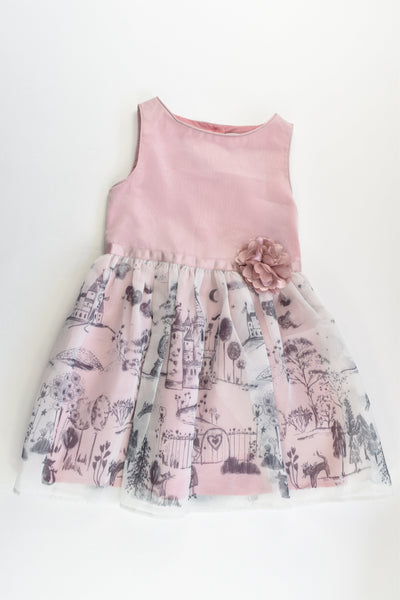 Marcs & Spencer Size 2-3 (98 cm) Lined Castle, Girl and Cat Dress