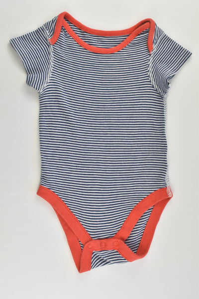 Marks & Spencer Size 0 (9-12 months) Striped/Red Bodysuit