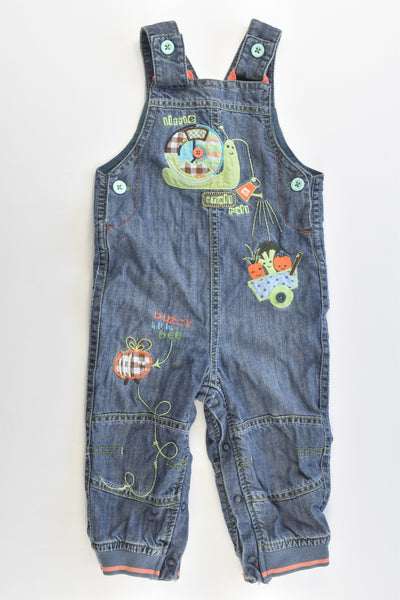 Marks & Spencer Size 0 (9-12 months) Veggie Patch Lined Denim Overalls