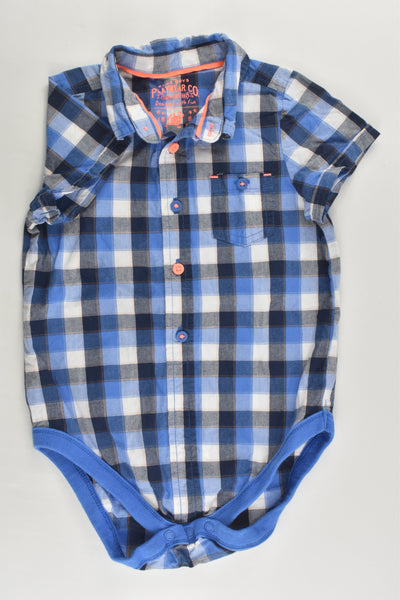 Marks & Spencer Size 1-2 (18-24 months, 90 cm) Checked Collared Bodysuit