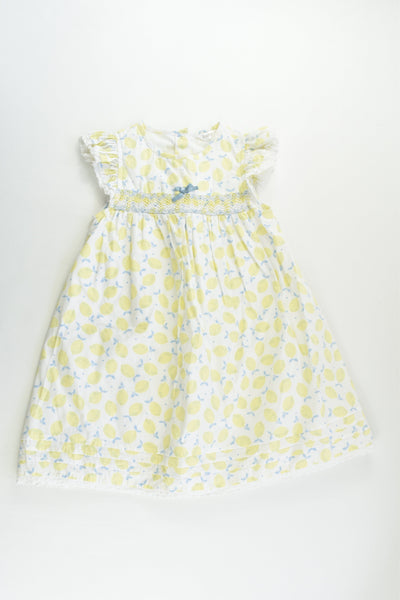 M&Co Size 2-3 (98 cm) Lined Smocked Lemon Dress