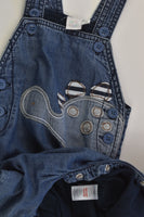 Mini Club Size 0 (6-9 months) Soft Lined Dinosaur Denim Overalls