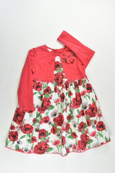 Monsoon Size 2 (18-24 months) Lined Roses Dress