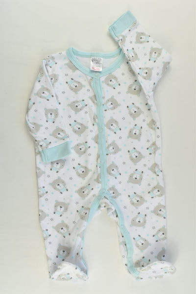 Moon & Stars Size 00 (3/6 months) Bears Footed Romper