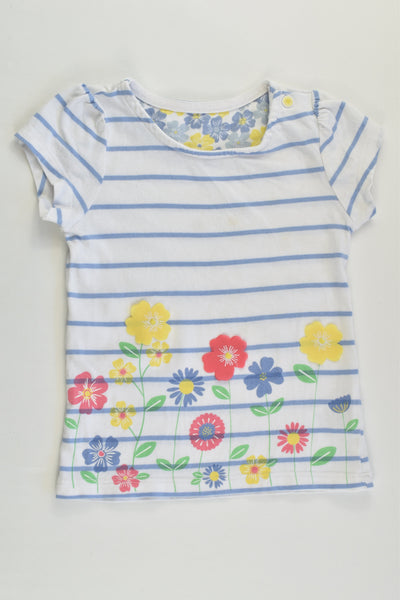 Mothercare Size 1 (12-18 months) Stripes and Flowers T-shirt