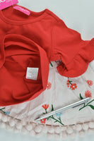 NEW Cinnamon Girl Size 00 Red T-shirt and Floral Lined Skirt