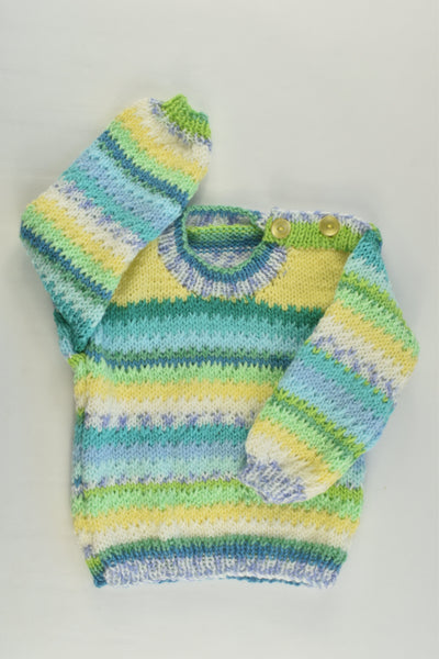NEW Handmade Size approx 00 Green and Yellow Mix Knitted Jumper