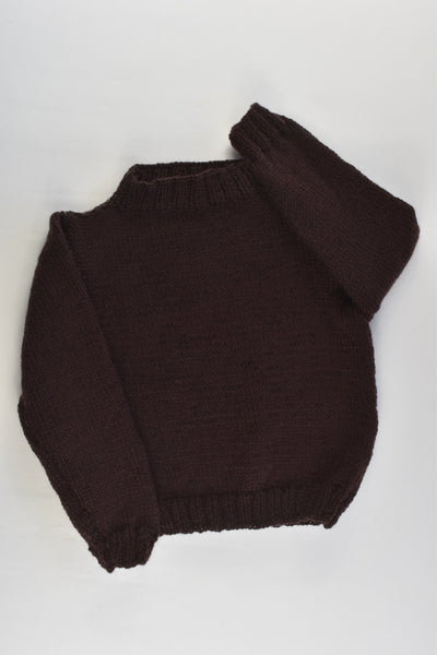 NEW Handmade Size approx 2 Brown Knitted Jumper