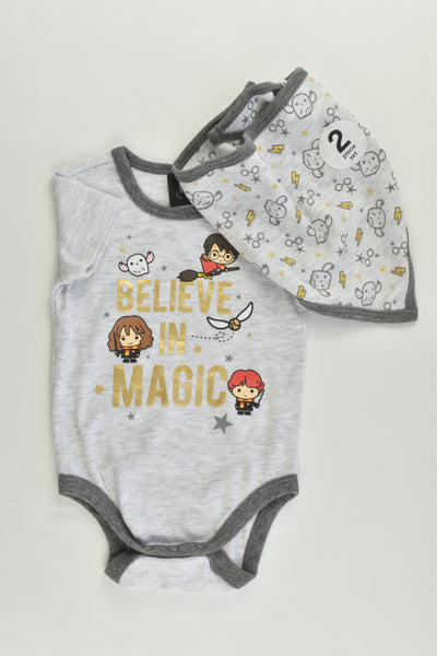 NEW Harry Potter Size 00 (3-6 months) 'Believe in Magic' Bodysuit and Bandana Bib