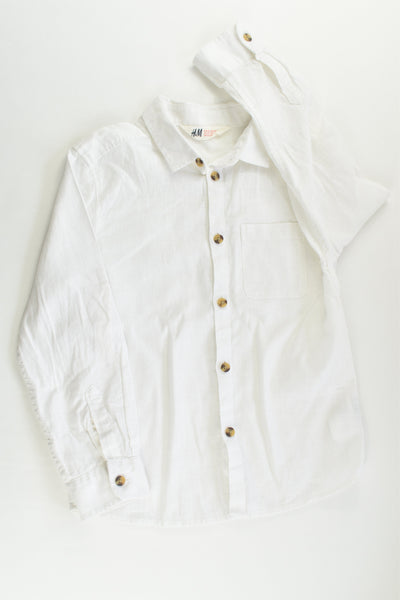 NEW H&M Size 7 (122 cm) Linen/Cotton Shirt