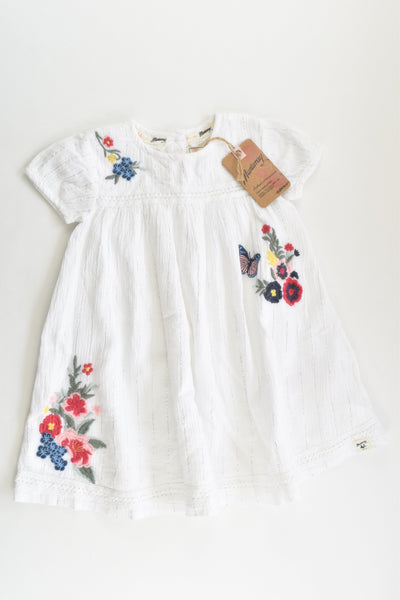NEW Mantaray (Debenhams) Size 1 (12-18 months) Lined Floral Embroidery Dress