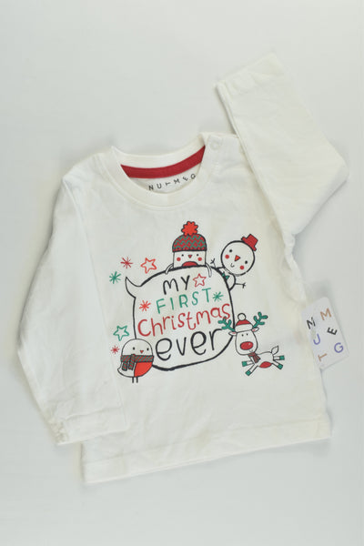 NEW Nutmeg Size 0 (6-9 months, 68-74 cm) 'My First Christmas Ever' Top