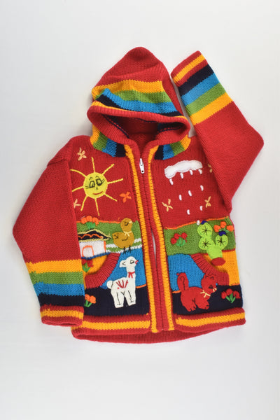 NEW Peruvian Handmade Size 4 Wool Jumper with Zip and Hood