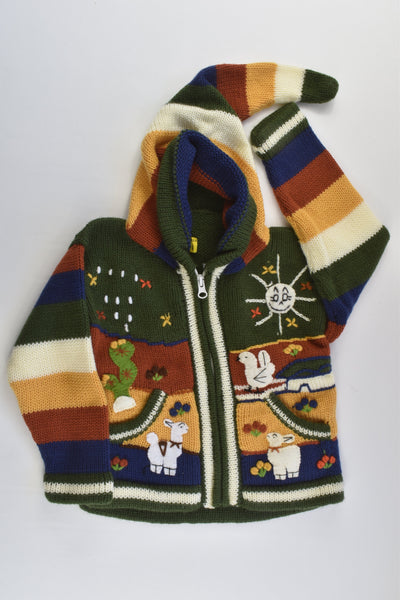 NEW Peruvian Handmade Size 4 Wool Jumper with Zip and Long Hood