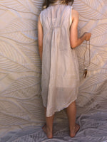 NEW Pinch and Spoon Four Button Silk/Cotton Dress Grey