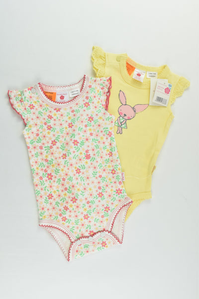 NEW Pumpkin Patch Size 000 (0-3 months, 62 cm) 2x Flutter Sleeved Bodysuit