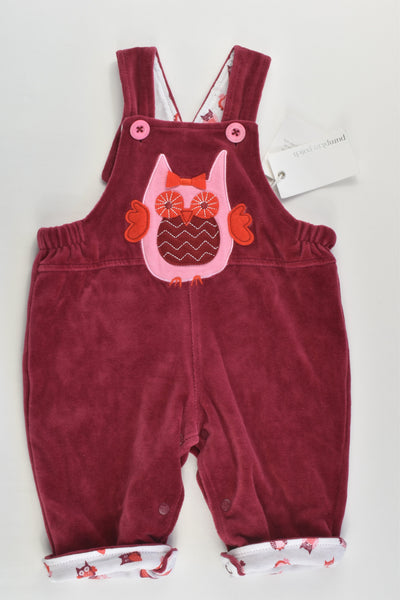 NEW Pumpkin Patch Size 000 (0-3 months) Lined Owl Velour Overalls