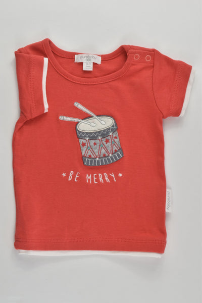 NEW Purebaby Size 000 (0-3 months) 'Be Merry' T-shirt