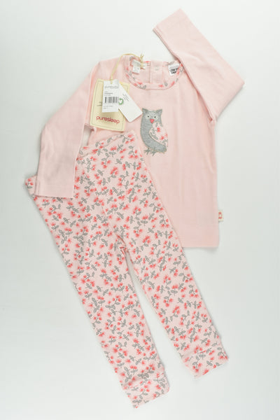 NEW Purebaby Size 1 (12-18 months) Floral Owl Pj Set