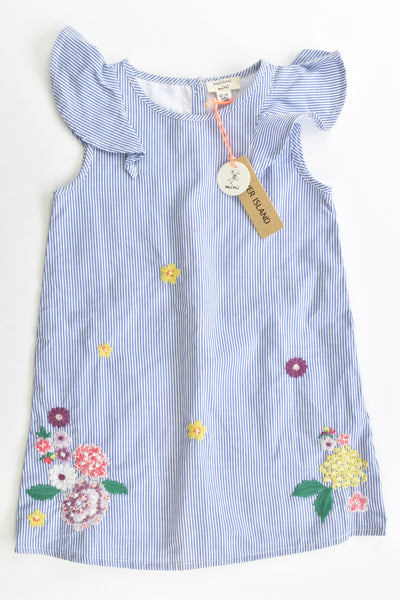 NEW River Island Size 1 (12-18 months, 86 cm) Lined Striped/Floral Dress