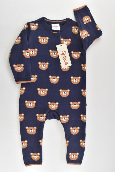 NEW Sprout Size 00 Bears Knitted Playsuit