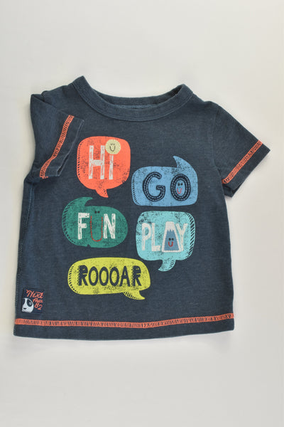Next Size 00 (3-6 months) 'Hi, Go, Fun, Play, Roooar' T-shirt