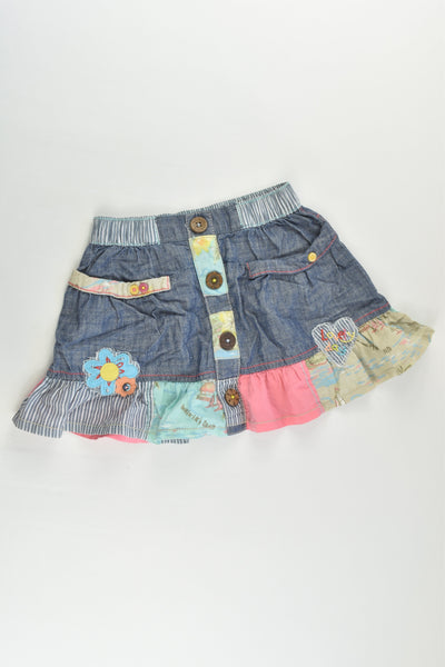 Next Size 2-3 Denim/Patchwork Skirt