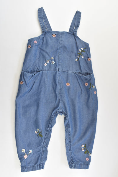 Next Size 2 Lightweight Denim Overalls with Floral Embroidery