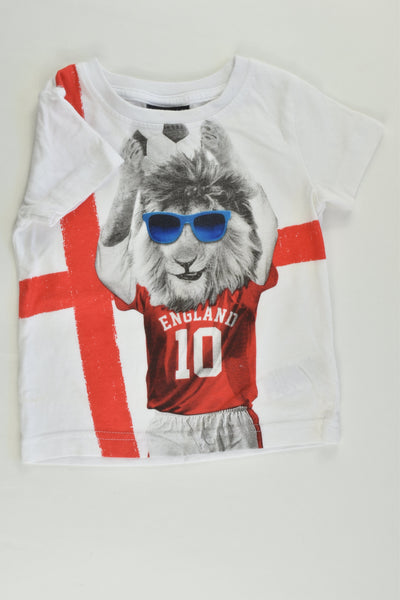Next (UK) Size 00 (3-6 months) 'England' Lion T-shirt