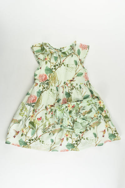 Next (UK) Size 2 (92 cm) Birds and Plants Lined Dress and Matching Bloomers
