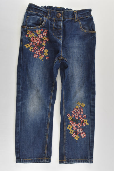 Next (UK) Size 3-4 (104 cm) Denim Pants with Floral Embroidery