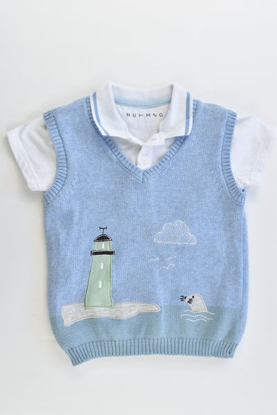 Nutmeg Size 0 (9-12 months, 80 cm) Lighthouse and Seal Knitted Vest and Collared T-shirt