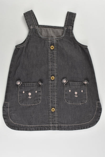 Nutmeg Size 0 (9-12 months, 80 cm) Lightweight Teddy Pockets Denim Dress