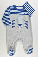 Ollie's Place Size 00 (3-6 months) Footed Tiger Velour Romper